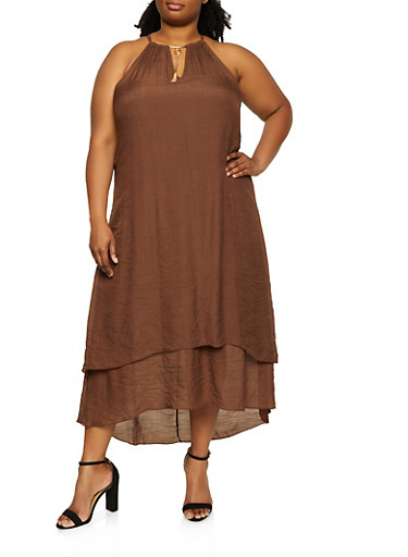 Plus Size Solid Tiered High Low Dress,BROWN,large