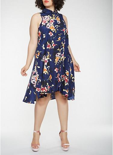 Plus Size Floral Shirt Dress,NAVY,large