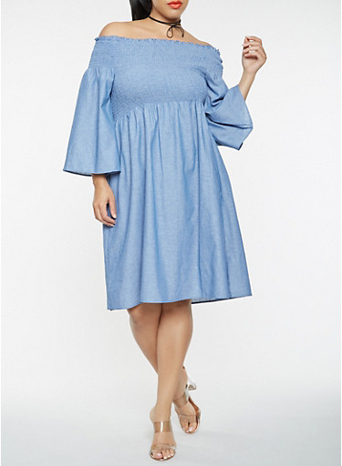 Plus Size Chambray Off the Shoulder Dress,CHAMBRAY,large