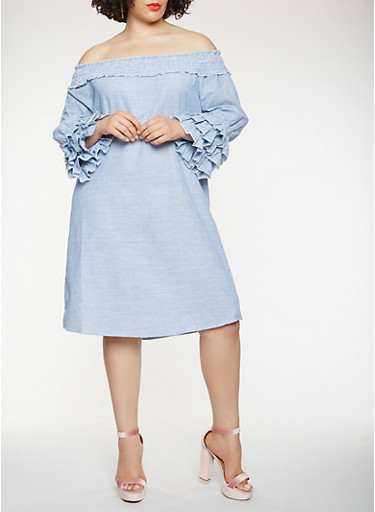 Plus Size Striped Off the Shoulder Chambray Dress,NAVY,large