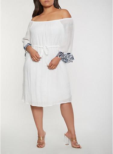 Plus Size Crochet Trim Off the Shoulder Dress,WHITE,large