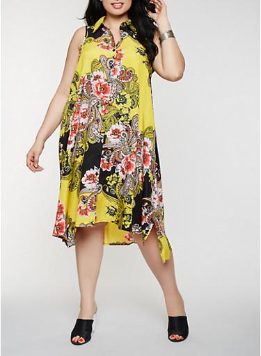 Plus Size Printed Midi Shirt Dress,YELLOW,large
