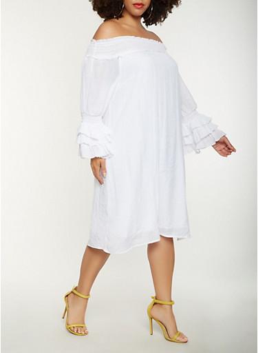Plus Size Off the Shoulder Peasant Dress,WHITE,large