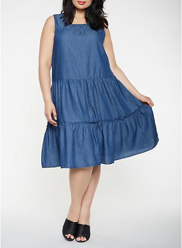 Plus Size Sleeveless Denim Tiered Dress,DARK WASH,large