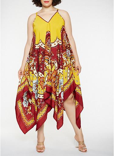 Plus Size Border Print Asymmetrical Maxi Dress,MUSTARD,large