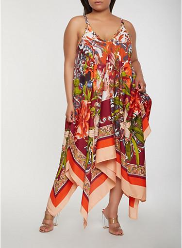Plus Size Printed Asymmetrical Maxi Dress,MULTI COLOR,large