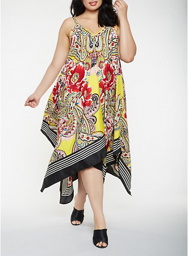 Plus Size Printed Asymmetrical Maxi Dress,YELLOW,large