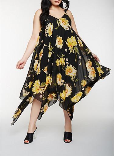 Plus Size Floral Asymmetrical Midi Dress,BLACK,large