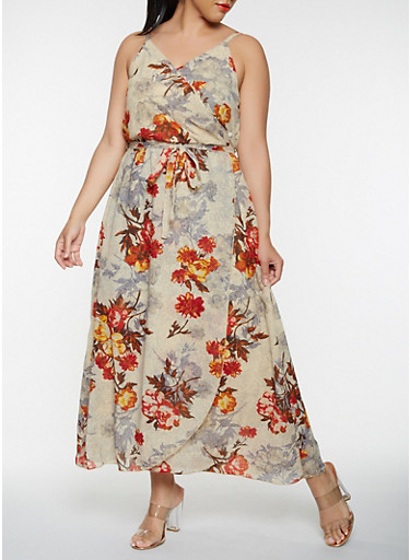 Plus Size Floral Faux Wrap Maxi Dress,IVORY,large