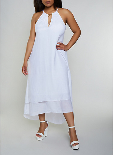 Plus Size Gauze Knit High Low Dress