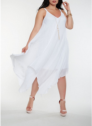 Plus Size Asymmetrical Dress with Necklace,WHITE,large