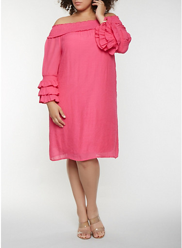 Plus Size Tiered Sleeve Off the Shoulder Dress,FUCHSIA,large