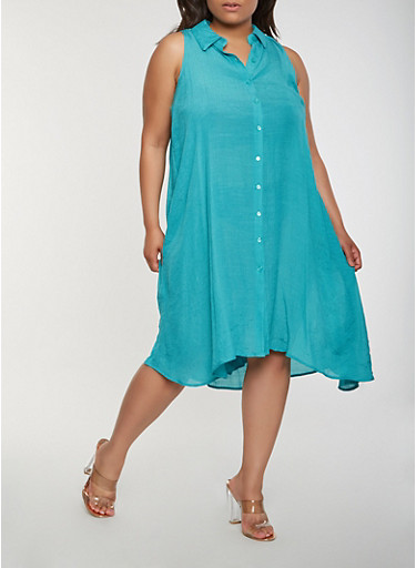 Plus Size High Low Shirt Dress,TURQUOISE,large