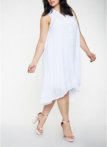 Plus Size Midi Shirt Dress,WHITE,large
