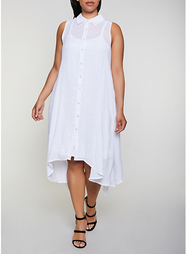 Plus Size Solid Trapeze Shirt Dress,WHITE,large