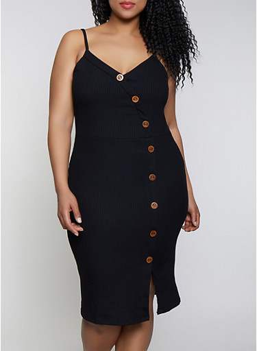 Plus Size Button Ribbed Knit Dress,BLACK,large