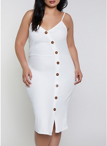 Plus Size Button Ribbed Knit Dress by Rainbow