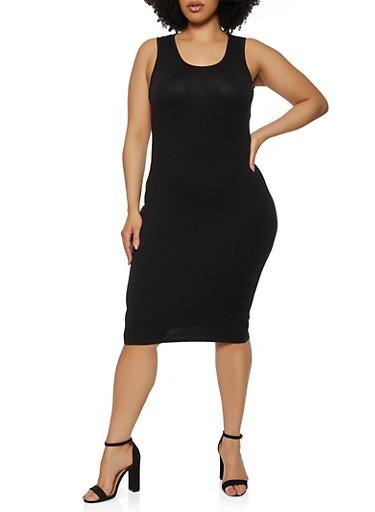 Plus Size Solid Midi Tank Dress,BLACK,large