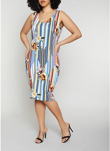 Plus Size Striped Floral Tank Dress | 0390058750527,YELLOW,large