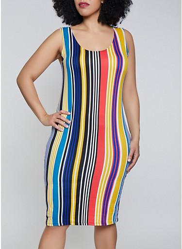 Plus Size Vertical Stripe Soft Knit Tank Dress,WHITE,large