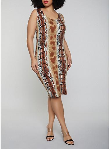 Plus Size Snake Print Soft Knit Tank Dress,BROWN,large