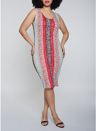 Plus Size Leopard Tank Dress,GREEN,large