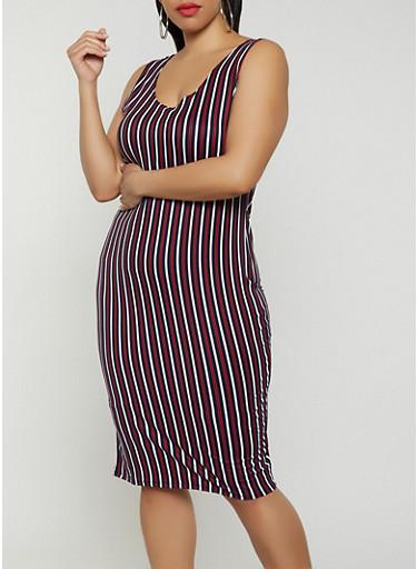 Plus Size Striped Tank Dress | 0390058750532,NAVY,large