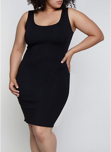 Plus Size Sleeveless Ponte Bodycon Dress,BLACK,large