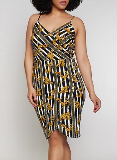 Plus Size Status Print Faux Wrap Dress,BLACK/WHITE,large