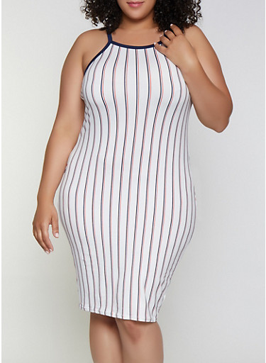 Plus Size Striped Contrast Trim Bodycon Dress,WHITE,large