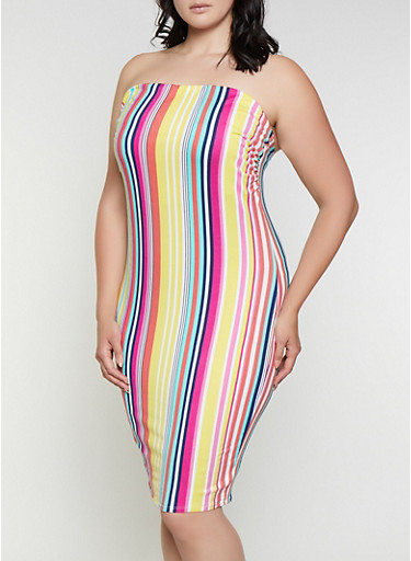 Plus Size Striped Tube Bodycon Dress,YELLOW,large