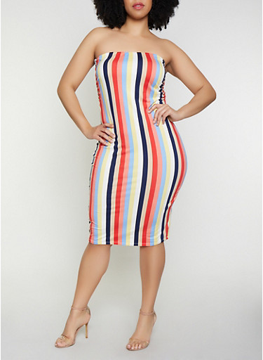 Plus Size Striped Soft Knit Tube Dress | 0390058751747,NAVY,large