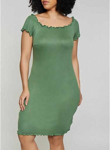 Plus Size Lettuce Edge Off the Shoulder Dress,OLIVE,large