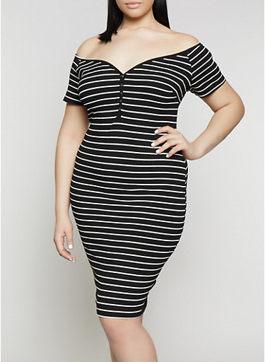 Plus Size Button Striped Off the Shoulder Dress,BLACK/WHITE,large