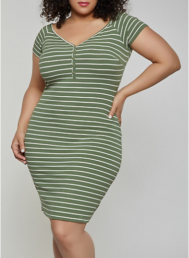 Plus Size Button Striped Off The Shoulder Dress by Rainbow