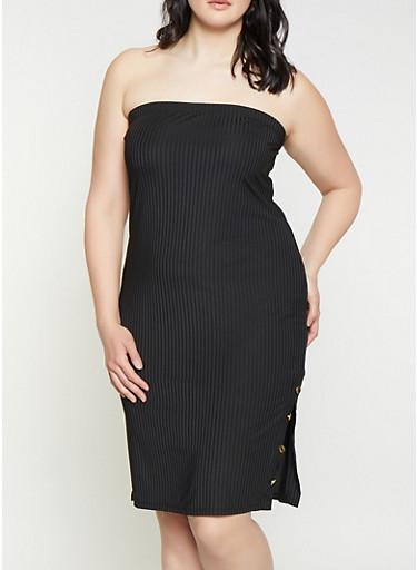 Plus Size Side Slit Tube Dress,BLACK,large