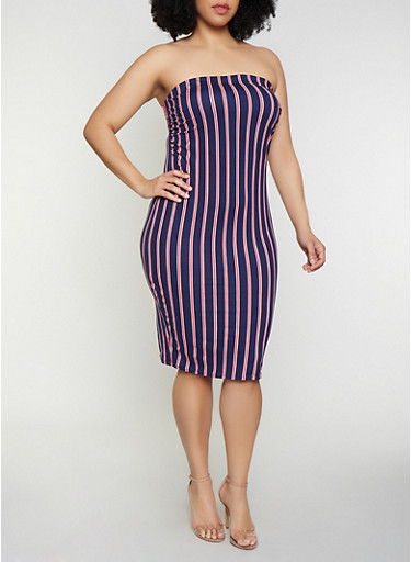 Plus Size Striped Soft Knit Tube Dress | 0390058752747,NAVY,large