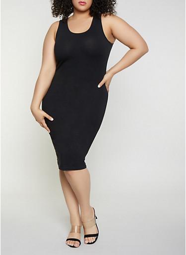 Plus Size Bodycon Tank Dress,BLACK,large