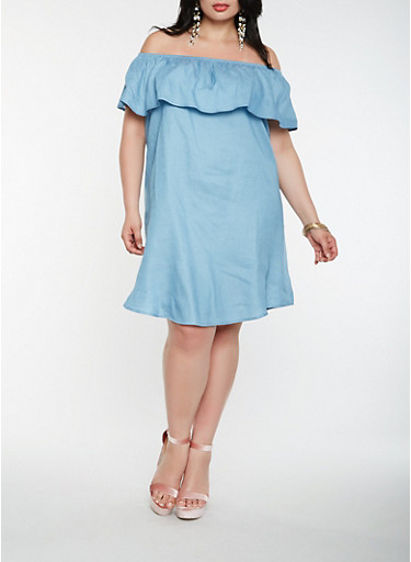 Plus Size Off the Shoulder Denim Dress,BLUE,large