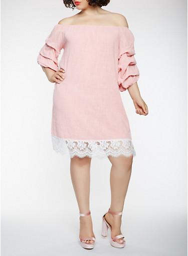 Plus Size Lace Trim Off the Shoulder Dress,MAUVE,large