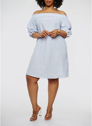 Plus Size Striped Off the Shoulder Shift Dress | Tuggl