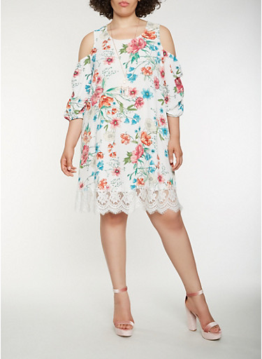 Plus Size Floral Cold Shoulder Dress with Necklace,TURQUOISE,large