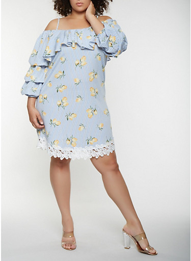 Plus Size Lemon Print Off the Shoulder Midi Dress,BLUE,large