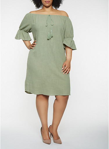 Plus Size Off the Shoulder Linen Dress,SAGE,large