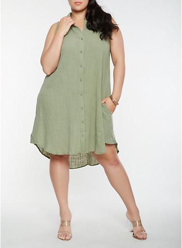 Plus Size Linen Shirt Dress | Tuggl