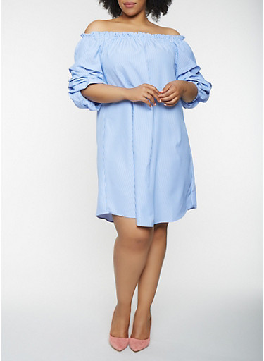 Plus Size Tiered Sleeve Off the Shoulder Dress,WHITE/BLUE,large