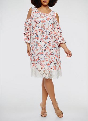 Plus Size Floral Cold Shoulder Dress,BONE,large