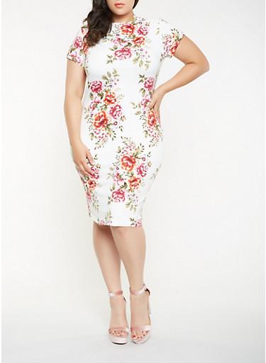 Plus Size Printed Mock Neck Bodycon Dress,IVORY,large