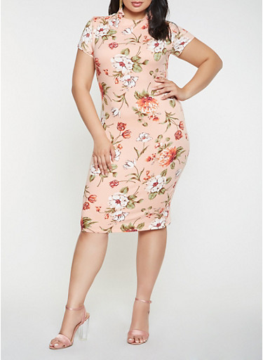 Plus Size Printed Bodycon Dress,PINK,large