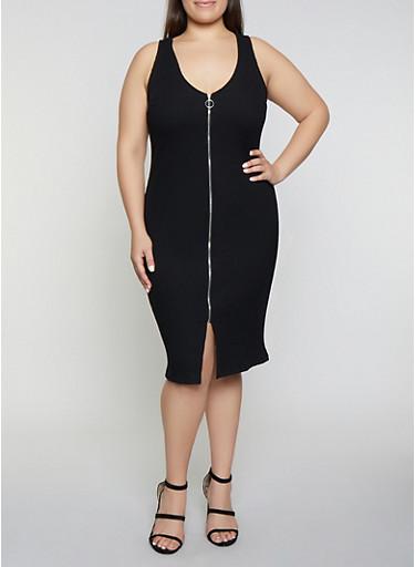 Plus Size Rib Knit Zip Front Dress,BLACK,large